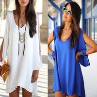 2014 New Women dress Sexy V-Neck Long loose Casual dress Strapless Chiffon A-line Summer White blue Beach dresses