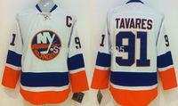 New York Islanders Jerseys #91 John Tavares White Ice Hockey Jersey Embroidery Accept Mix Orders