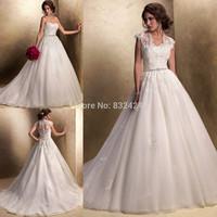Short Wedding Dress Sale Promotion Vestidos De Novia Wyl013 Cap Sleeve Tulle And A Line Wedding Dress 2014 Custom Made_bridalk