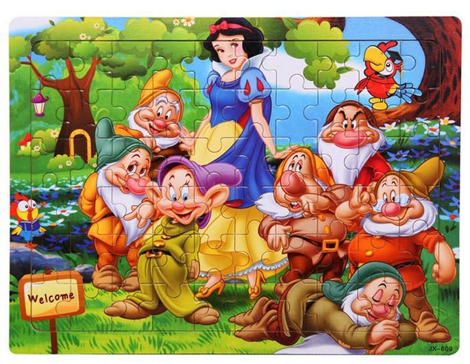 Hot Sale! New 60pcs Jigsaw Puzzle Snow White AND THE Seven Dwarfs TOY Cinderela Branca de Neve 3D puzzle brinquedos educativos(China (Mainland))