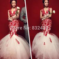 Vestido De Renda Elegant 2014 Evening Dresses Mermaid Long Lace Prom Party Formal V Neck Vestido De Festa Plus Size 2014_bridalk
