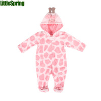 LittleSpring Retail 1 piece Baby rompers infant Winter Autumn jumpsuit animal design boys girls foot-binding one piece baby