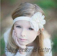 Wholesale 2014 Infant Elastic Headband Baby Mesh Lace Flower Headband Newborn Pearl Tulle Flower Hair Band Hair Accessories