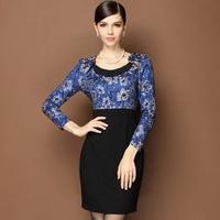 Blue Dresses Women New Autumn Beaded Collar OL Dress Patchwork High-end Embroidered Long-sleeved Work Dress
