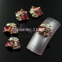 20pcs/lot 9x11mm Golden Back Clear AB Pink Rhinestones Irregular Alloy Metal 3D Nail Art Craft Case Cover DIY Design Decorations