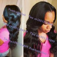 In Stock! Top 6a quality 18inch #1b body wavy virgin brazilian lace front human hair wigs Free shipping