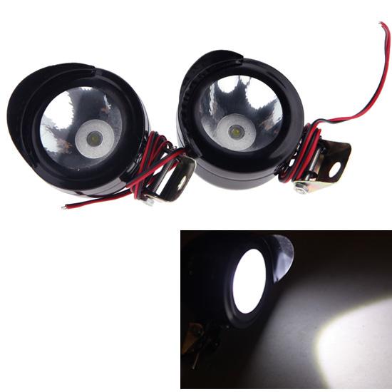 2Pcs Universal Led Motorcycle Light Motorbike LED Front Headlight Head Lamp Spot Light(China (Mainland))