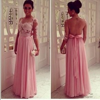 Top Online A-Line Chiffon Floor Lenth See Through Lace Applqiues Backless Prom Dresses Cheap
