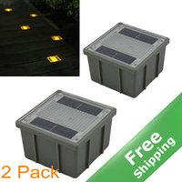 Solar Brick light +IP68 Waterproof+1 Yellow  LED+ 100% Solar powered+ 2pcs/lot + Free shipping