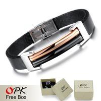 OPK Genuine Leather Handmade Bracelet EU Simple Style Vintage Rose Gold/Black Stainless Steel Men Jewelry Bangle 861