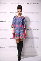 New 2014 women ladies autumn winter fashion trench coat vintage print Windbreaker high street overcoat outwear 4XL D1689