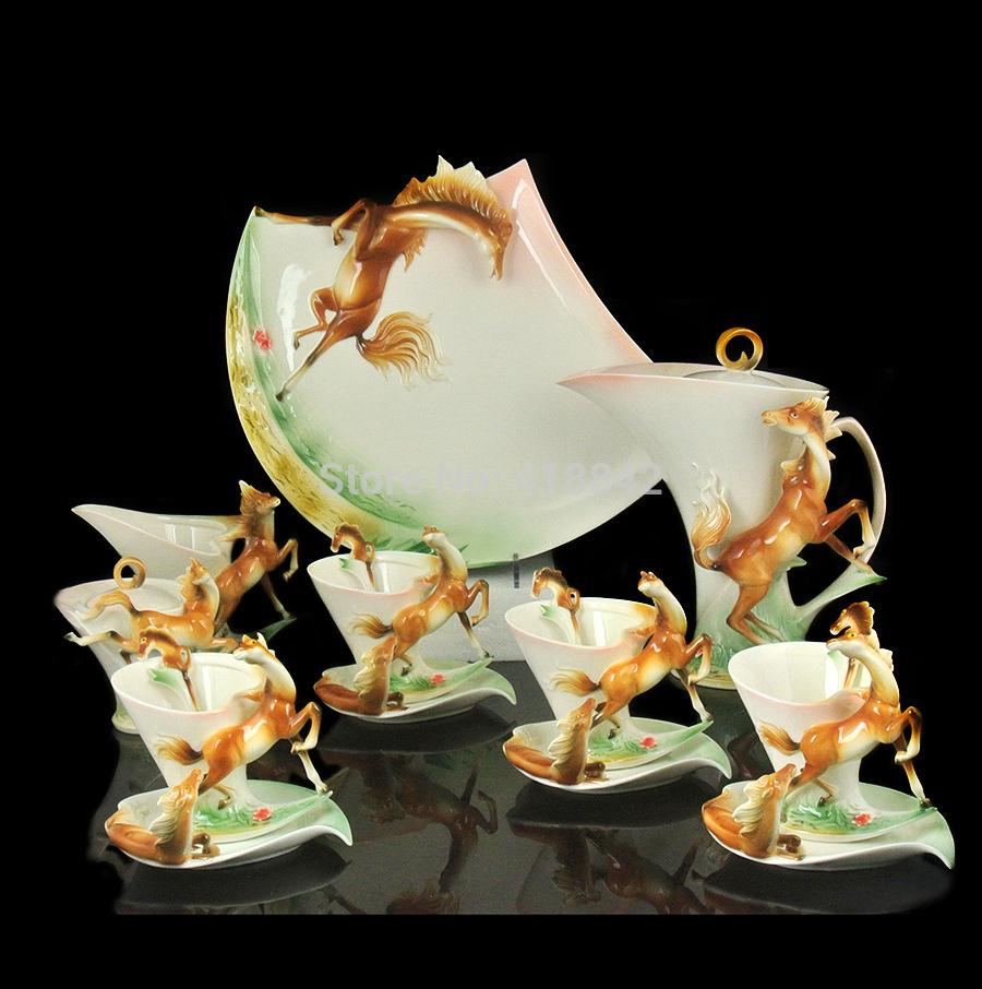 Full Set Porcelain Graceful Galloping Horse Coffee Set 4Cup 4Saucer 1Creamer 1Sugar Bowl 1Pot 1Platter 4Spoon