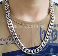 New Stainless steel men silvery Polishing Bright  24inch X15mm Heavy chain Necklace Send her boyfriend a birthday present