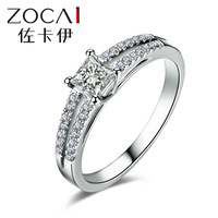ZOCAI 2014 New Arrival 100% natural diamond ring 0.459 ct certified diamond 18K white gold ring engagement ring fine jewelry