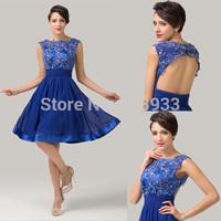 Sexy Elegant Sleeveless Open Back Pleat Vintage Chiffon+Lace Short Royal Blue Bandage Evening Dress Appliques Prom DressesCL6132