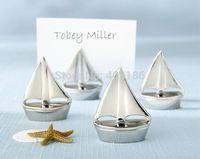 2014 New Free Shipping 100PCS/LOT Popular Novel Charming Silver Shining Sails Place Card Holder Wedding Decoration Accessory