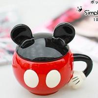 Free shipping Mickey ceramic cup coffee mug with cover milk cup novelty households cartoon mug