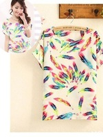 New 2014 Fashion Color 2014 Women Ladies Chiffon Tops Blouse Summer T- Shirt
