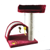 NEW Cat Tree Post Scratcher Furniture Play House Pet Bed Kitten Toy RED