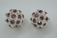 DIY Findings Violet Color Disco Ball Rhinestone Crystal Round Beads 20mm Free Shipping
