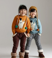 2014 Winter Boy girl Outfits Children clothing Sets Suits thicken fleece snowman Tops Kid Coats + Pants