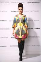 New 2014 women ladies autumn winter fashion trench coat vintage print Windbreaker high street overcoat outwear 4XL D1694