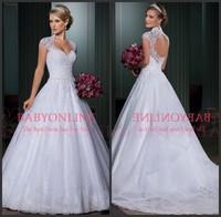 Free Shipping Vestidos De Noivas 2014 A Line Sweetheart Open Back Wedding Dresses Bridal Gown Casamento With Detachable Train