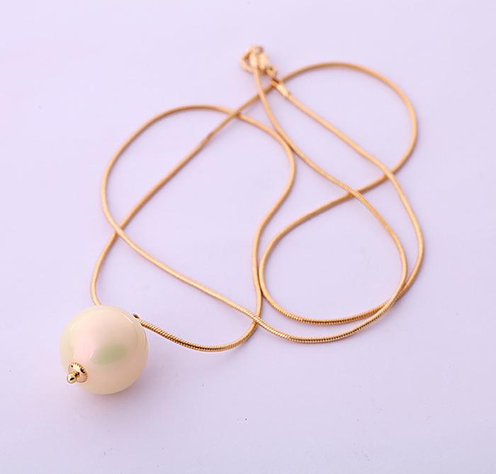 Luxury Jewelry Acrylic Wholesale From Shi Jie 18k Shiny Gold Lady Long Freshwater Pearl Elegant Pendant Necklace(China (Mainland))