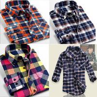 high quality new fashion 2014 new men' s long sleeve shirts autummn winter men plaid shirt,Lattice, cultivate Promotion shirt