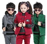 children's boys girls winter clothing sets kids sport suit clothes casual vest sweatshirt hoody pant 3 pieces set 2014