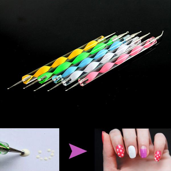1PC Free Shipping: 2-Way Nail Art Dotting Pens Aluminum Marbleizing Painting Dot Tool(China (Mainland))