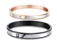 New Arrival 18K Rose gold Plated couple Bangle,Rhinestone Cuff Bangle make with titanium Charm Bracelet bangle Top Quality,N867