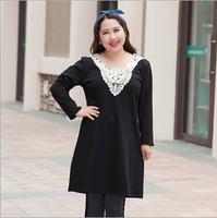 Plus Size Autumn Dress 2014 Female Long Sleeve Clothing Lace Dresses Warm Winter Big Size Lady Elegant Clothes 2XL Black Large