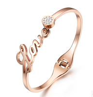 New Arrival Love Shaped Rose Gold Plated Titanium Steel Women Bracelets & Bangles, Fashion Ladies Jewelry Accessories,N699