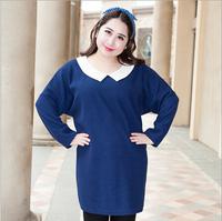 Plus Size Women's Dress Dark Blue 2014 Female Long Sleeve Clothing Dresses Warm Winter Big Size Lady Elegant Clothes 2XL Large