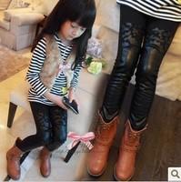 Girls Kids 2014 new winter wild child plus velvet  girls pants boots pants fight kids trousers size 3-9 free shipping