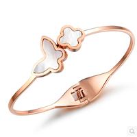 New Arrival 18K Rose Gold Plated White Shell Butterfly Bracelets & Bangles, Fashion Titanium Steel Bangle for Women,N683