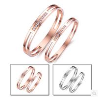 New Arrival 18K Rose gold Plated couple Bangle,Rhinestone Cuff Bangle make with titanium Charm Bracelet bangle Top Quality,N695