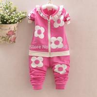 4sets/lot Flowers Baby Girls Sports Suit Children's Winter Clothing Sets Thicken Fleece Conjunto De Roupa Kids Clothes Sets