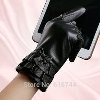 New Deluxe Women's Smart Touch Screen Gloves Genuine Sheepskin Leather Bowknot Flounce Black