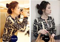 Women Vintage Pattern Knitted Sweater Batwing Sleeve Tops Cardigan Outwear Coat E6172