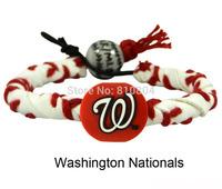 2014 new top trendy Free shipping (50) handmade Washington nationals fashion sport leather bracelets