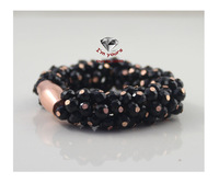 Foreign trade the original single accessories brand texture contracted bright black beads bracelet 2pcs/lot