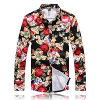 2014 new autumn men shirts high quality plus size 3XL 4XL 5XL floral print shirts men fashion shirts 5z
