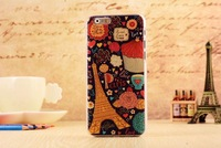 Original Mobile phone shell For Apple iphone 6(4.7inch),3D Cartoon&Flowers Painted Relief Phone Cases+Screen Protector+Free Ship