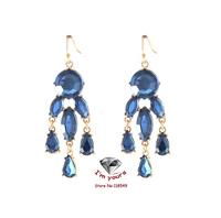 ED125  Foreign trade jewelry brand sense tassel droplets blue earrings 3pcs/lot
