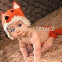 New Hot Baby Girls Boy Newborn-9M Knit Crochet Fox Clothes Photo Prop Outfits E6247