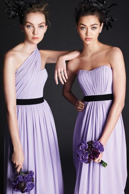 Free shipping Lavender Bridesmaid Dresses long Crinkle chiffon floor length vestido festa longo ribbon at waist party dresses(China (Mainland))