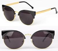 2014 fashion Super star glasses men vintage round sunglasses cat eye Brand Designer women retro metal sun glasses oculos de sol