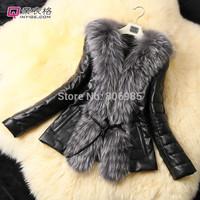 2014 winter warm coats women wool slim belt leather wool coat winter jacket women fur women's coat jackets winter coat